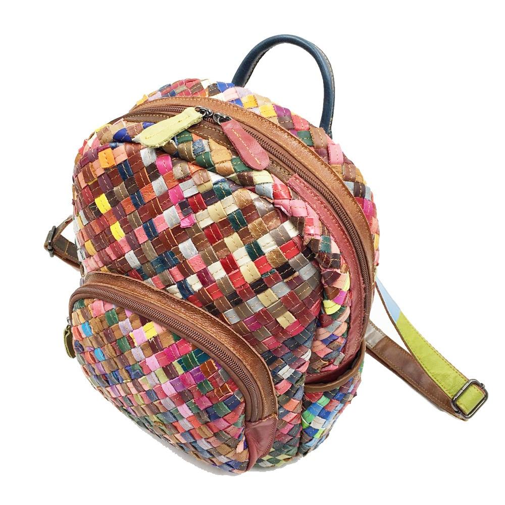 LilyHood Echtem Leder Mini Rucksack Weibliche Mode Beiläufige Elegante Schaffell Feminine Bunte Patchwork Kleine Nette Rucksack-in Rucksäcke aus Gepäck & Taschen bei  Gruppe 2