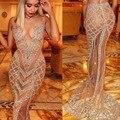 Sereia Sem Mangas O Pescoço Completa Frisado Lantejoulas Sexy Hot Ver Através Transparente Tulle Longo Luxo Das Meninas Vestidos de Baile 2017
