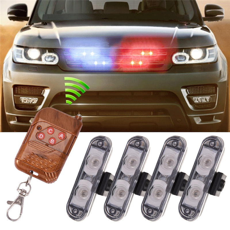 4 IN 1 2LED Wireless Remote DC 12V Led Warning Light Car Truck Flashing Strobe Lights LED Ambulance Police Light For Vw/bmw/kia цена и фото