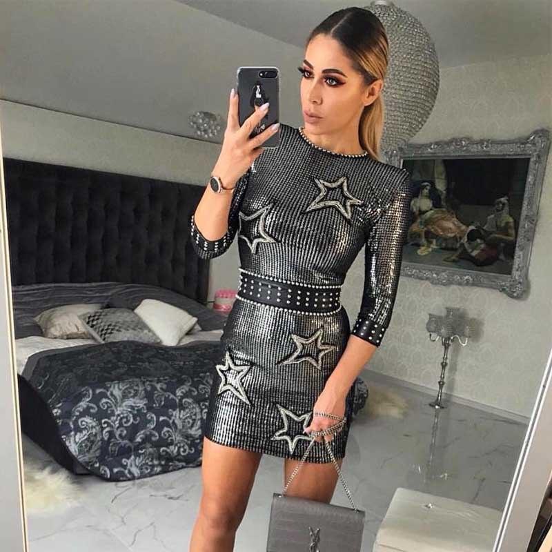 도매 2019 새로운 드레스 블랙 하프 슬리브 스팽글 슬림 맞는 패션 럭셔리 레저 연예인 칵테일 파티 드레스 (h2658)-에서드레스부터 여성 의류 의  그룹 1