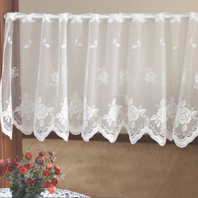 Free Shipping Sweetheart Lovely Lace Flowers Yarn Tulle Coffee Short  Kitchen Curtains For Living Room Bedroom