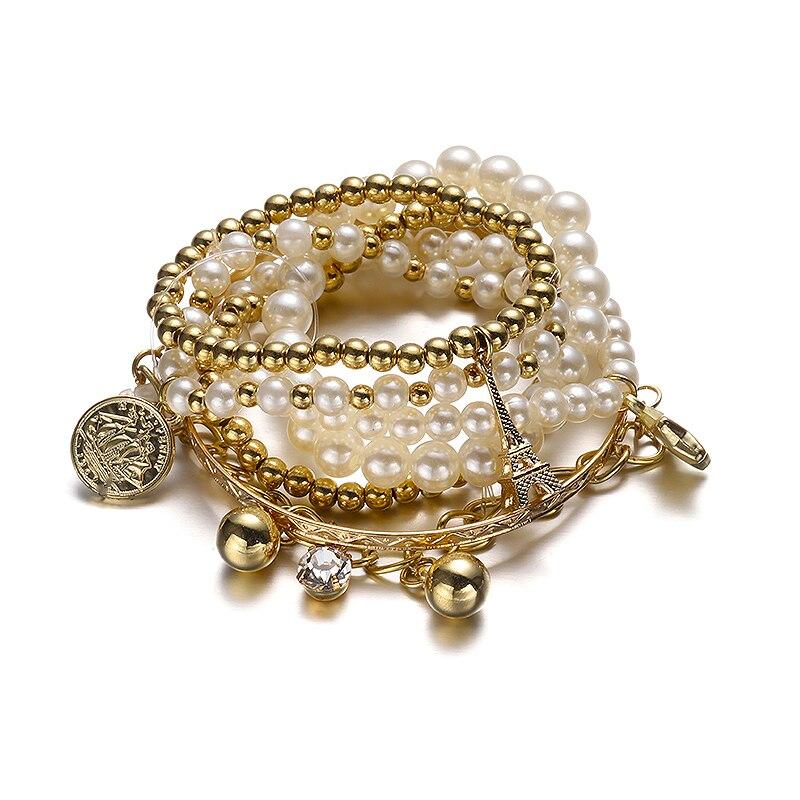 6c0ed4dd6e09 Vintage Cadena de Perlas de Varias Capas Pulseras y Brazaletes Set  Plata del Color del Oro de Imitación de La Perla Pulsera Del Encanto Para  Las Mujeres ...