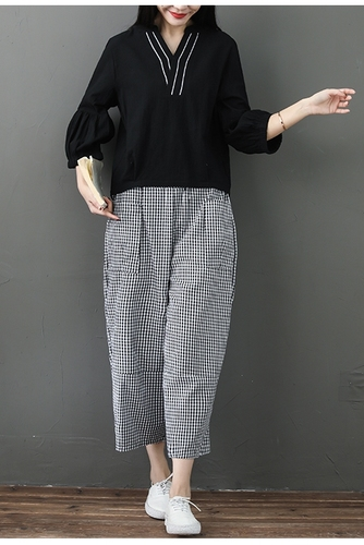 Spring Summer Cotton Linen 2 Piece Sets Women V-neck Blouses And Plaid Wide Leg Pants Suits Casual Loose Fashion Women's Sets 36