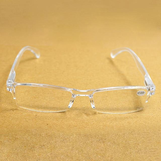 Men Women Transparent Frameless Resin Reading Glasses Diopter Presbyopia Spectacles Gafas de lectura 1.0 2.0 2.5 3.0 3.5 4.0 016