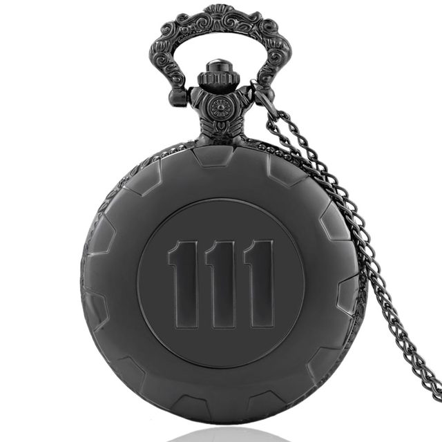 New Fashion Quartz Pocket Watch Black Game Fallout 4 Vault 111 Steampunk Women M