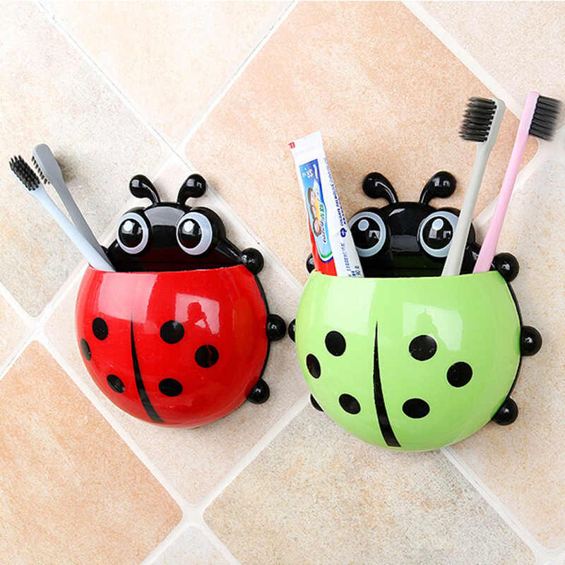 KECTTIO Plastic Ladybug Toothbrush Holder Hotel Bathroom Toothpaste Holder Suction Hooks Wall Toothbrush Rack Storage Shelves