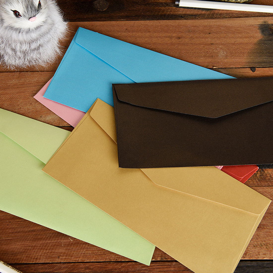 FangNymph  11*22cm 20pcs Classical Kraft Envelopes European Retro Paper Envelope Blank Envelops Office Supplier Stationery