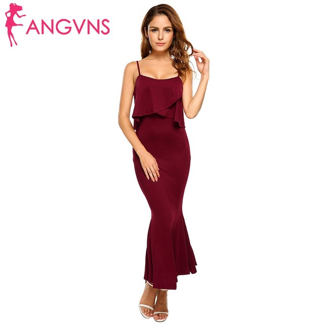 99502dc2b08 ANGVNS Elegant Formal Mermaid Dresses Sexy Solid Ruffles Spaghetti Straps  Backless Vestidos Long Party Evening wear Maxi Dress