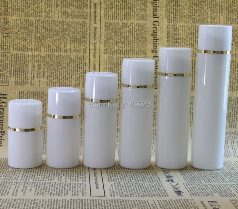 50ml 100ml White cap Airless Pump Bottles With Golden line Plastic  Airless Bottle Vacuum cosmetic Lotion Containers 10 pcs/lot-in Refillable Bottles from Beauty & Health