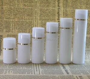Image 1 - 50ml 100ml boné Branco Garrafa De Plástico Sem Ar Garrafas de Bomba Airless Com linha Dourada Vácuo Recipientes Loção cosmética 10 pçs/lote