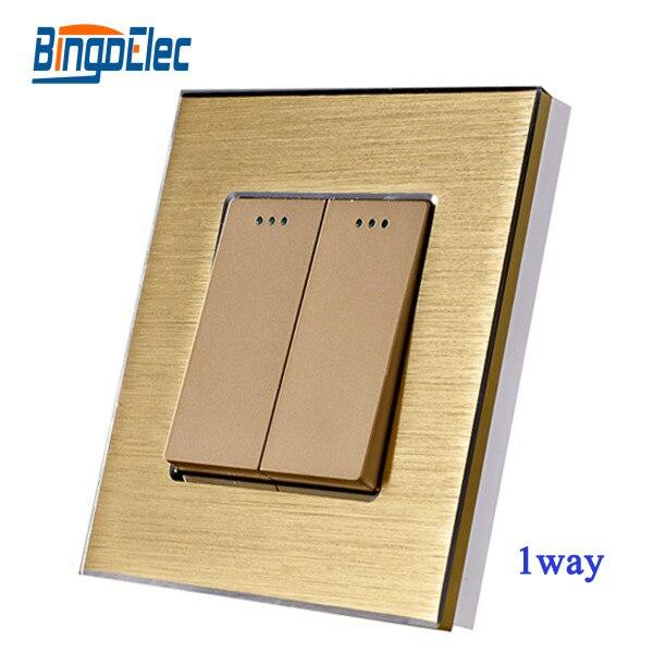 2gang 1way push button wall switch,gold aluminum panel switch,EU/UK standard,Hot Sale