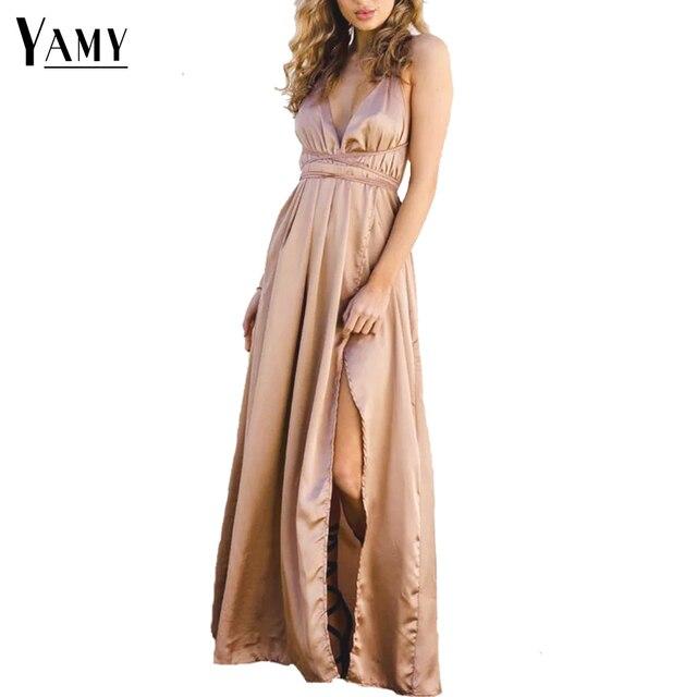 Neue satin backless sexy kleid frauen elegante tiefem v ausschnitt ...