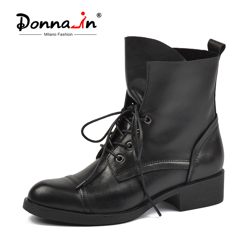 Botas Martin Donna in para mujer 2019 otoño botas de tobillo de cuero genuino botas de motocicleta zapatos de punta redonda de encaje a la moda para las mujeres-in Botas hasta el tobillo from zapatos    1