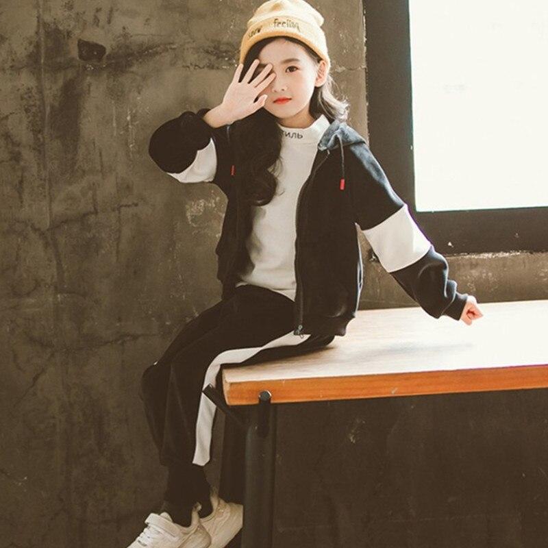 Nouveau garçon filles hiver ensemble enfants vêtements enfant sport épais polaire Hoodies + pantalon 2 pièces ensembles fille Sweatshirts costumes décontractés