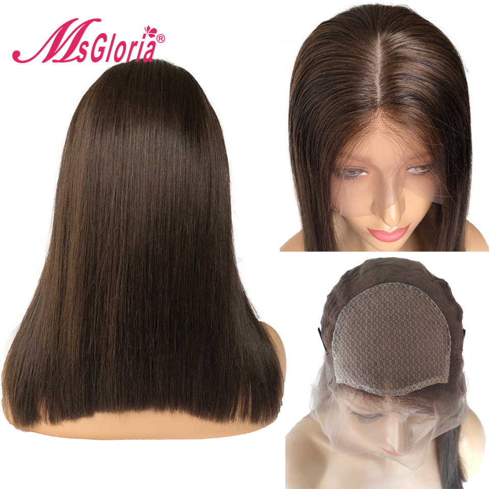 13*4 Lace #3 Brown Color Short Bob Silk Base Human Hair Wigs For Women Brazilian Remy Lace Front Human Hair Wigs Bleached Knots