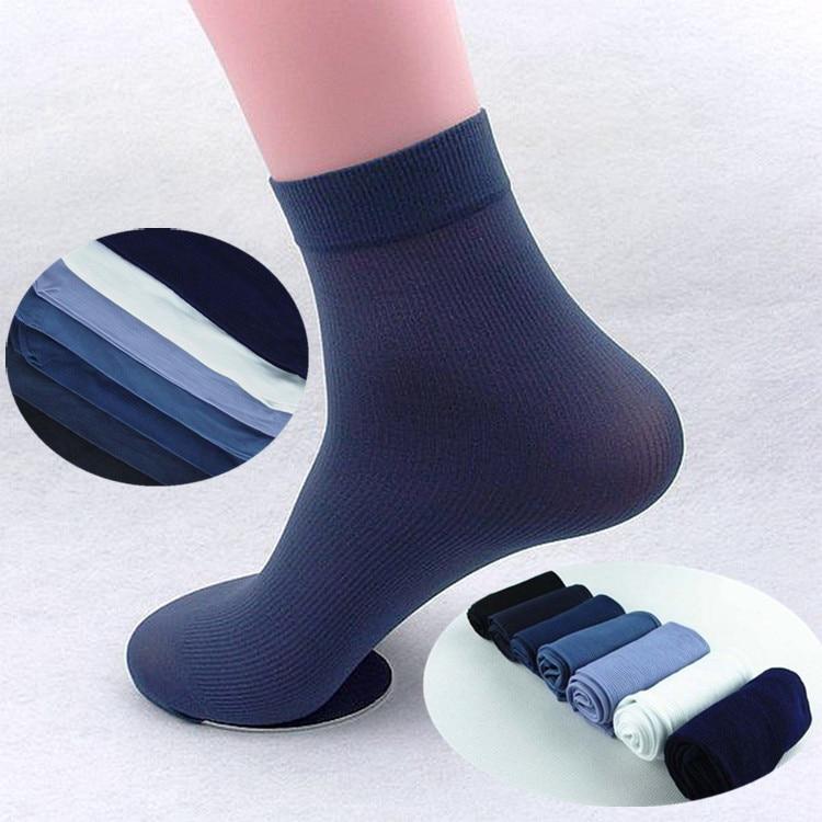 HanBo 20pcs=10 Pairs/pack Summer Fashion Cool Black Comfortable Mens Short Bamboo Fiber Socks Stockings Middle Socks