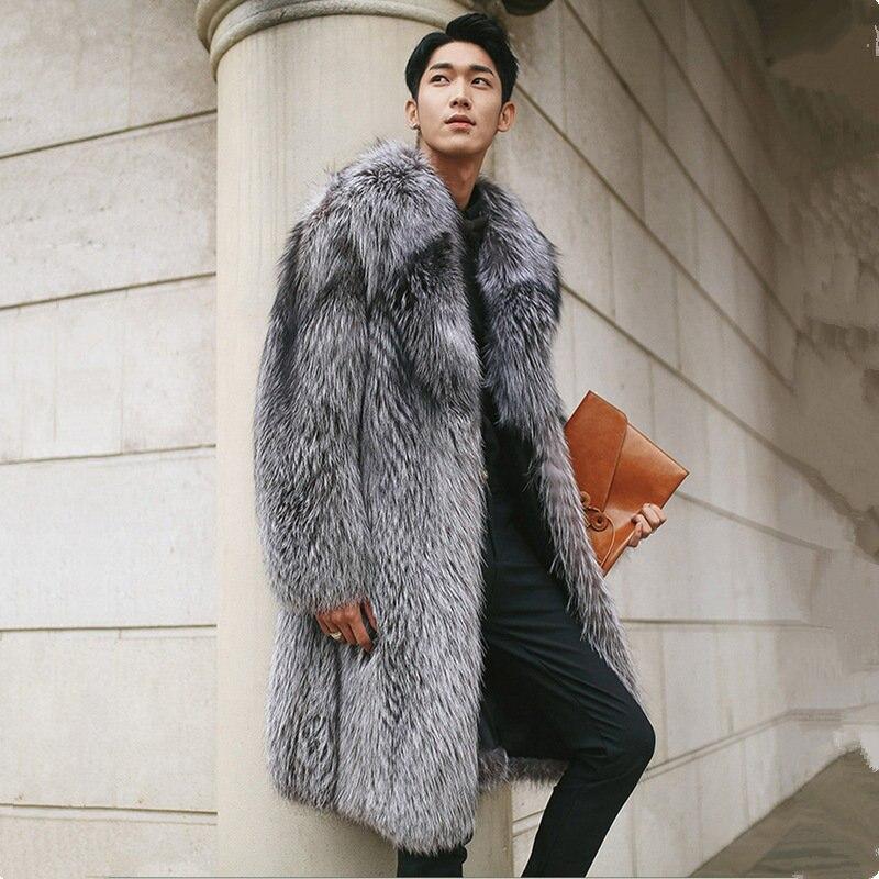 Novas Especialidades Imitação Casaco De Pele de Imitação de Pele de Raposa Casaco Longo Dos Homens de Prata Falso Plus Size Pele 5XL Masculino Inverno Quente jaqueta MZ3031