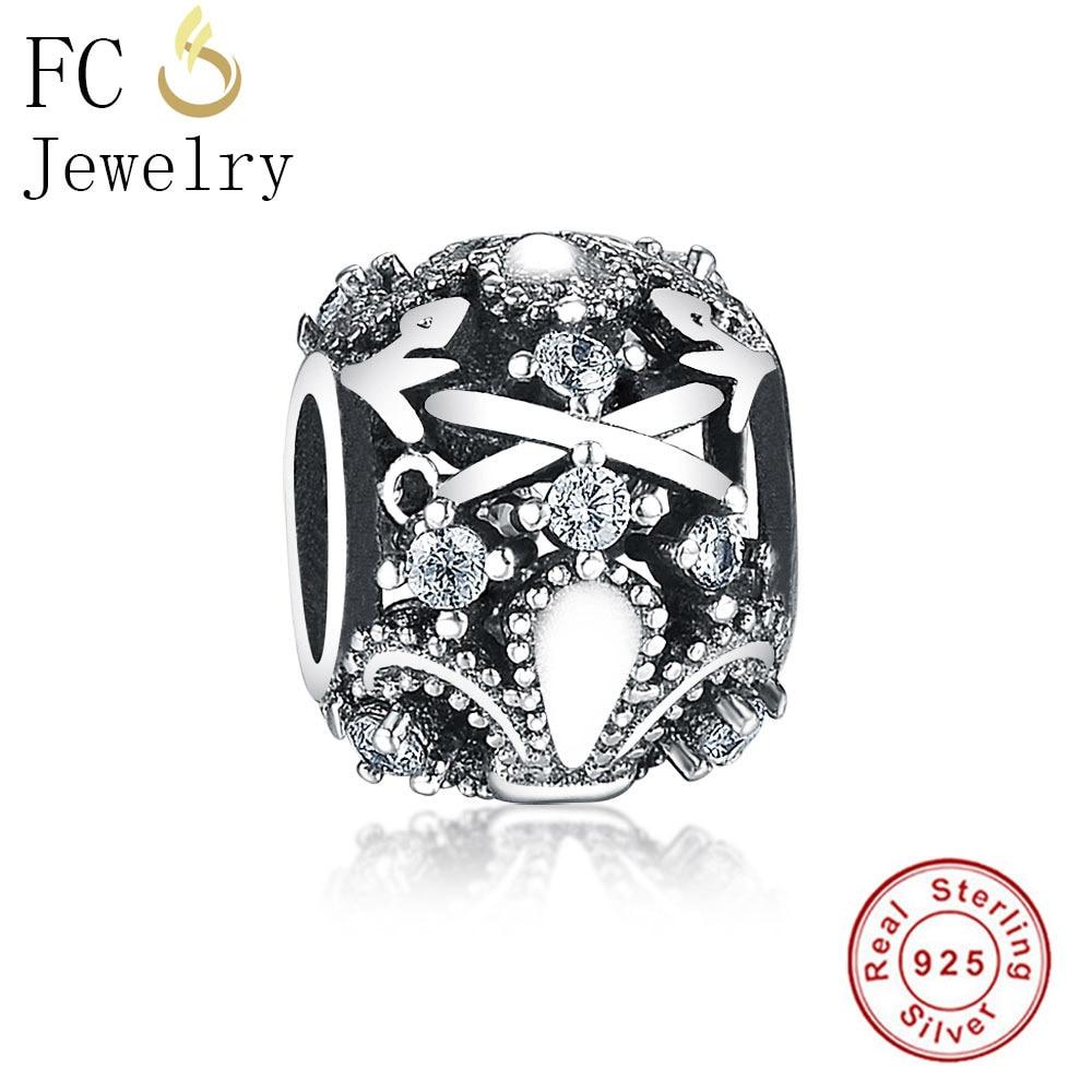 FC Jewelry Fit Original Pandora Charms Bracelets Essence 925 Silver Fleur De Lis Flower CZ Stone Beads for DIY Making Berloque