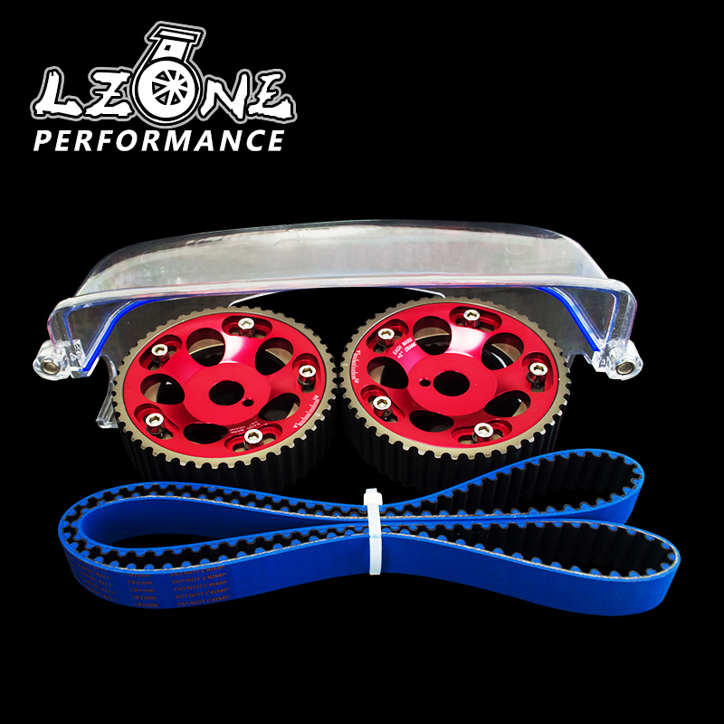LZONE - HNBR Racing Timing Belt+Aluminum Cam Gear+Cam Cover FOR 2JZ-GE and 2JZ-GTE Supra, GS300,IS300 JR-TB1006B+6531R+6332 pqy racing hnbr racing timing belt blue aluminum cam gear red for toyota 1jz 1jzgte 1jz gte pqy tb1005b 6531r