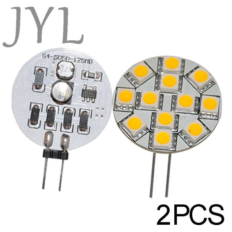 JYL 2pcs G4 12 5050 SMD Cabinet Marine Boat Reading LED Light Bulb Lamps Spot light 160-180lm 2W DC/AC10V-24V Warm White / White