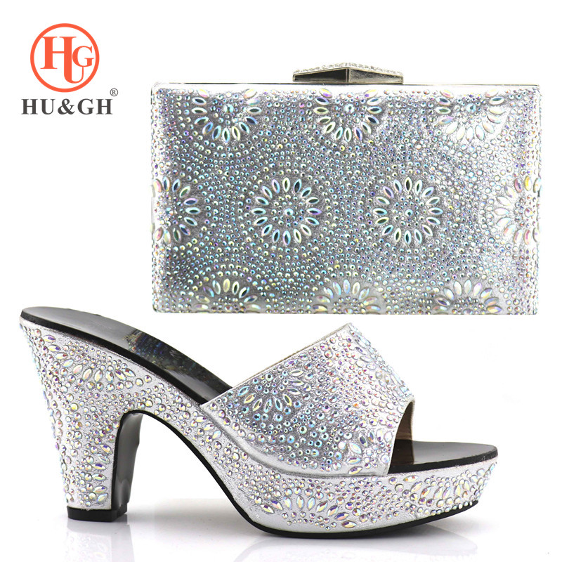 Silvery Italian Ladies Shoes and Bags To Match Set Nigerian Shoes for women and Matching Bag African Wedding Shoes and Bag Set