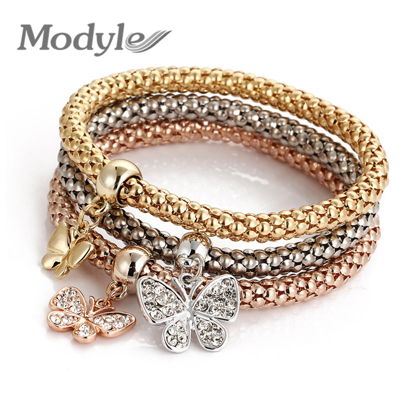 Armreifen Modyle 2018 Neue 3 Teile/satz Kristall Schmetterling Armband & Bangle Mehrere Form Elastische Herz Armbänder Für Frauen