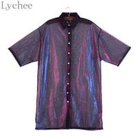 Lychee Summer Women Blouse Transparent Mesh Laser Sunproof Sunscreen Half Sleeve Shirt Tops