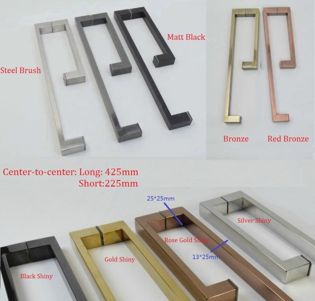 304 Stainless Steel Square Glass Door Pull Handle Commercial Shower