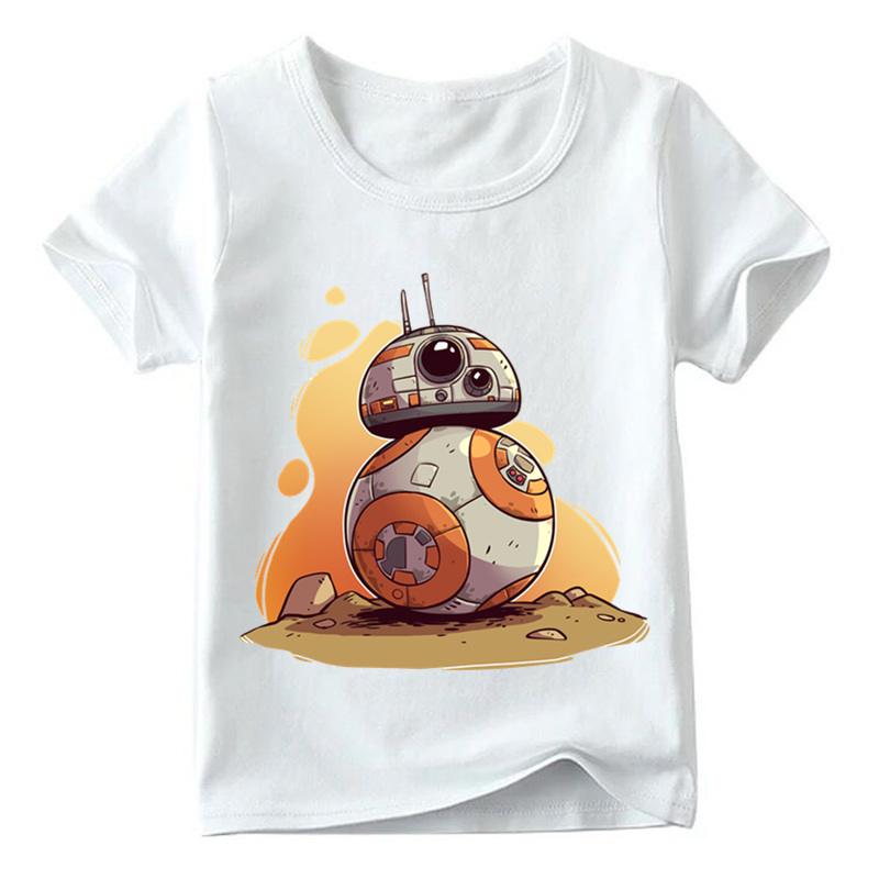Baby Boys/Girls Star Wars BB-8 Print Funny T shirt Summer Children Short Sleeve Tops Kids Casual T-shirt,HKP5163 kids cccp ussr gagarin print t shirt boys and girls the soviet union russia space design tops baby summer white t shirt hkp2437