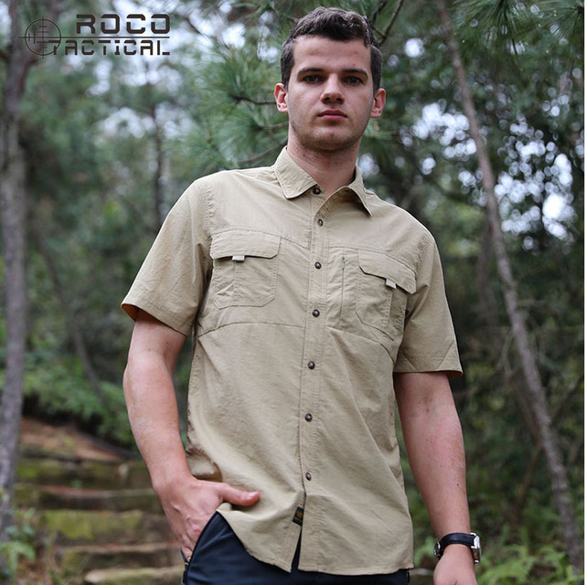 ROCOTACTICAL Men's Quick Dry Hiking Shirts Breathable Summer Outdoor Camping Shirts UV Protection Sports Shirts