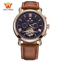 Top Brand OYW Fashion Luxury Mechanical Watch Men Wristwatches Business Watch Male Man Analog Leather Strap Relogios Masculinos
