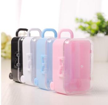 60 pcs  Creative Square Colorful Plastic Chocolate Sweet Favor Box Mini Trolley Case Shape Small Objects Storage Jar Container