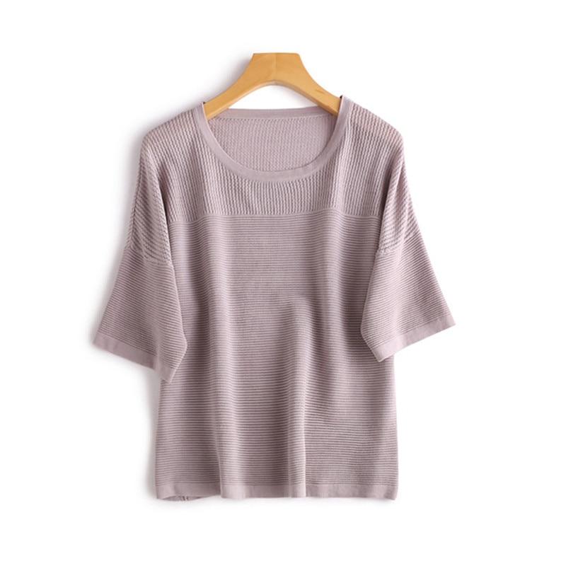 T Couleur Taille 2 purple cou Mode Nylon Manches shirts De Pourpre Solide Courtes Sur Tricot Blue Viscose shirt Femmes Oneamp; Évider T En Mélange À D'o OTXZiPku