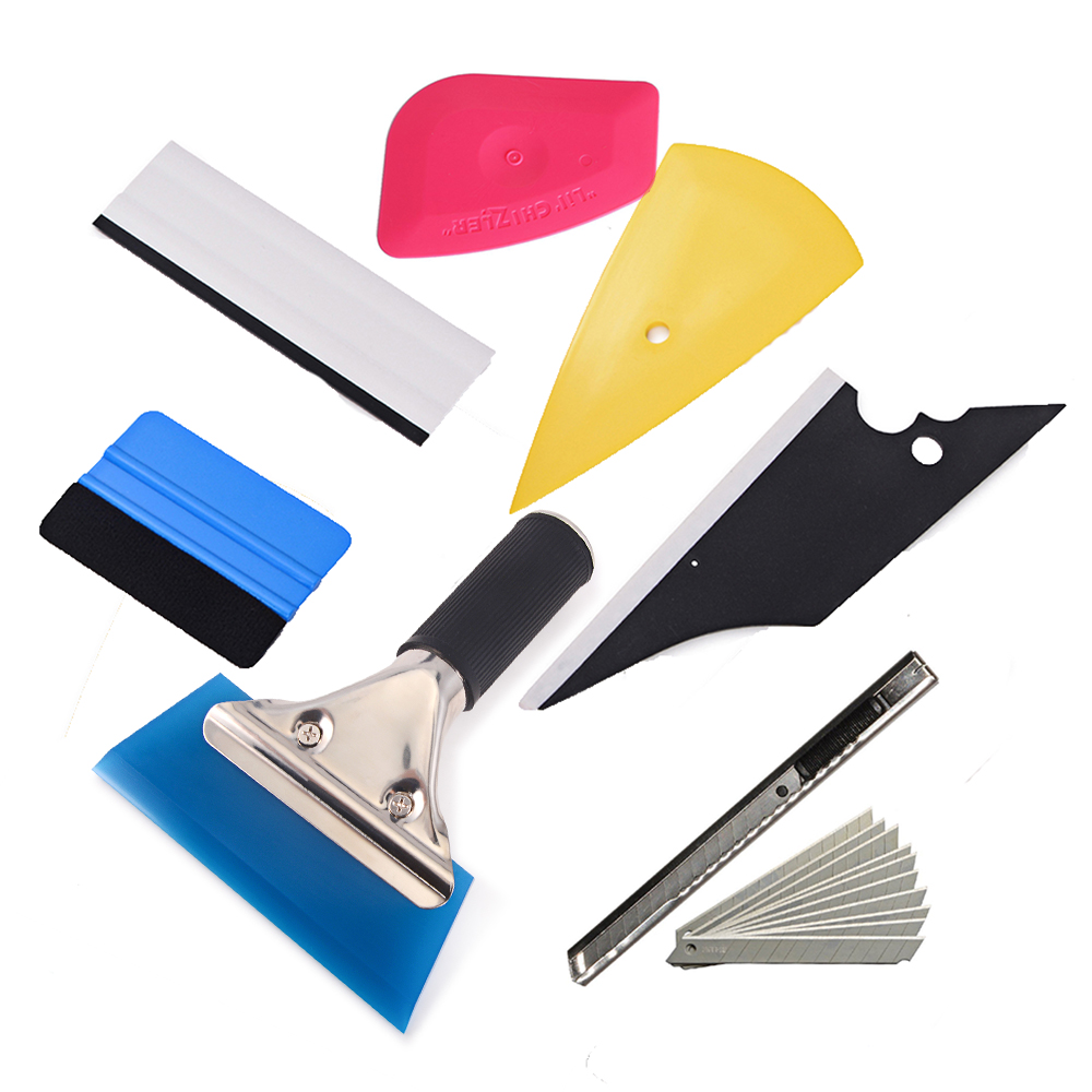 EHDIS 8pcs Window Tint Tool Set Vinyl Car Wrap Tool Foil Film Squeegee Paper Cutter Knife Kit Auto Styling Tool Car Accessories