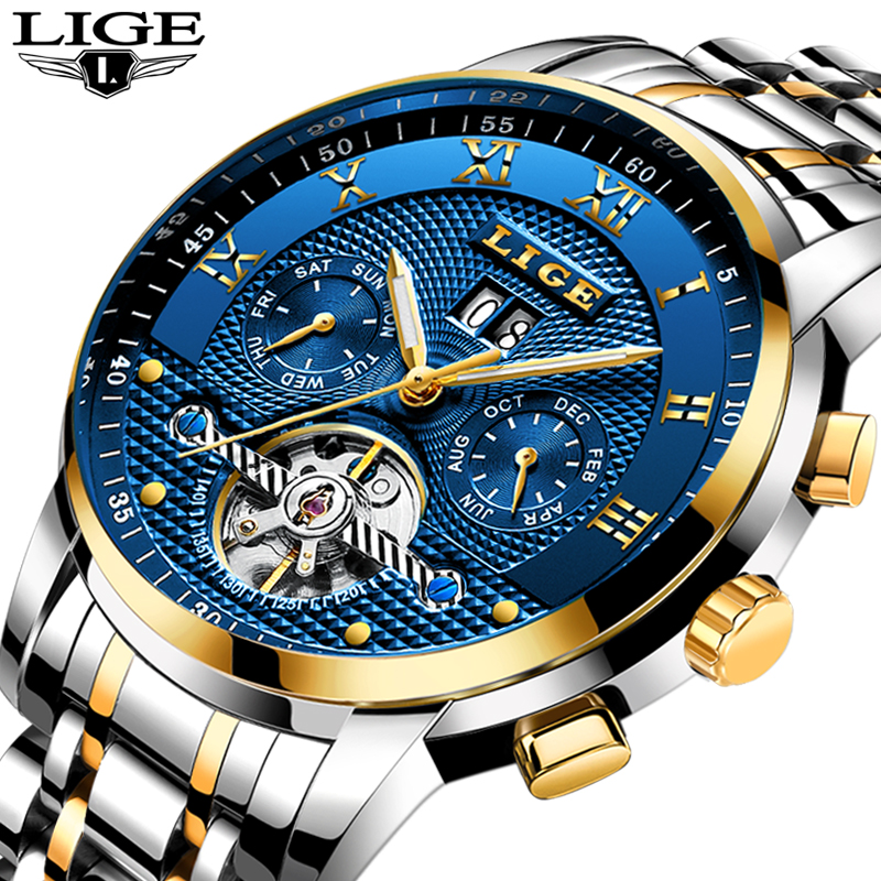 LIGE Mens Watches Top Brand Luxury Tourbillon Automatic Mechanical Watch Men Full Steel Business Waterproof Sport