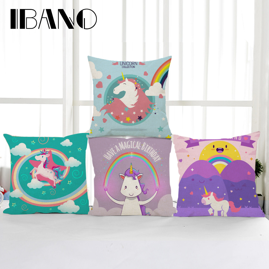 IBANO Rainbow Unicorns Cotton/Linen Cushion Cover 45x45cm Pillows Case Bedroom Sofa Decorations For Home