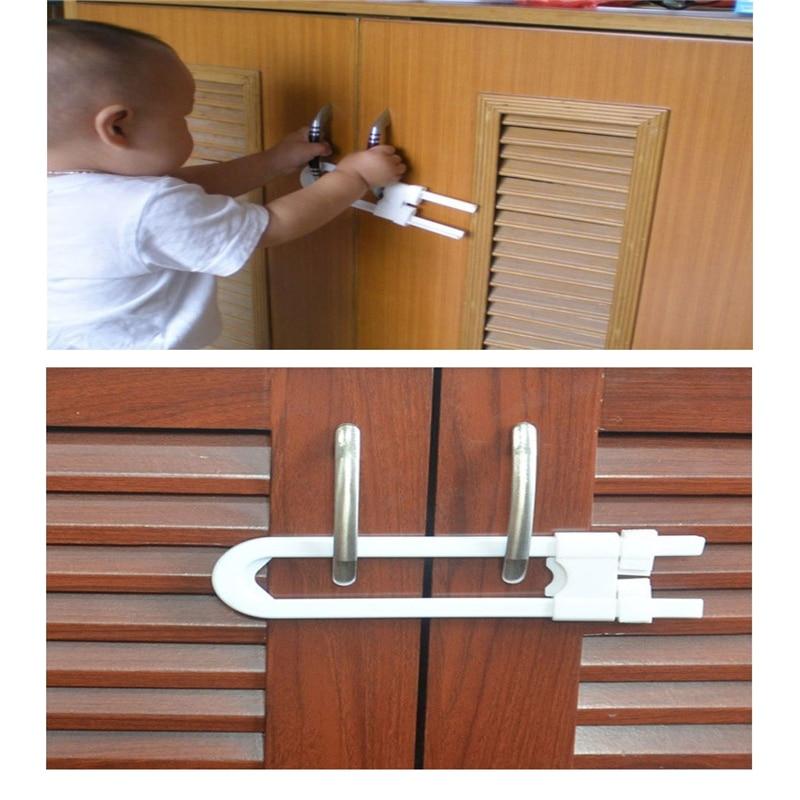 Baby Safety Locks Cabinet Draw Children Security Protection Closet Wardrobe U Shape Lock