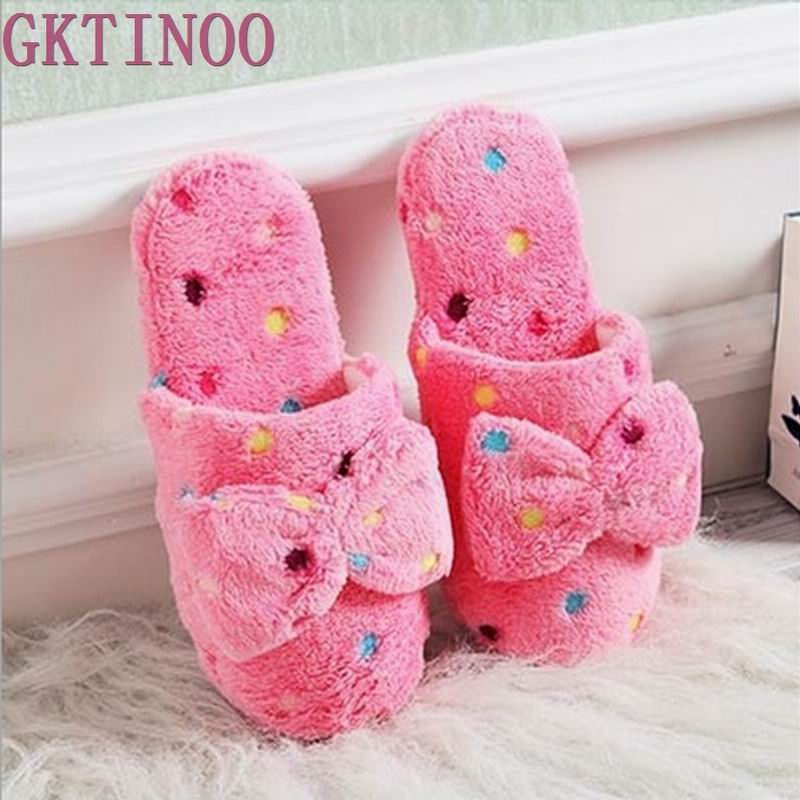 Hot Sale Autumn Winter Warm Lovely Velvet Soft Plush Slipper Women Ladies Home Non-silp Bowknot Slippers Indoor Shoes fashion pretty funny winter indoor toe big feet warm soft plush slippers novelty gift adult shoes slipper unisex 2016 hot sale