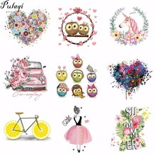 Pulaqi Owl Animals Unicorn Iron on Transfers For Clothing Fabric Baby Kids Applique Badge Hot Vinyl Heat Transfer Stickers H
