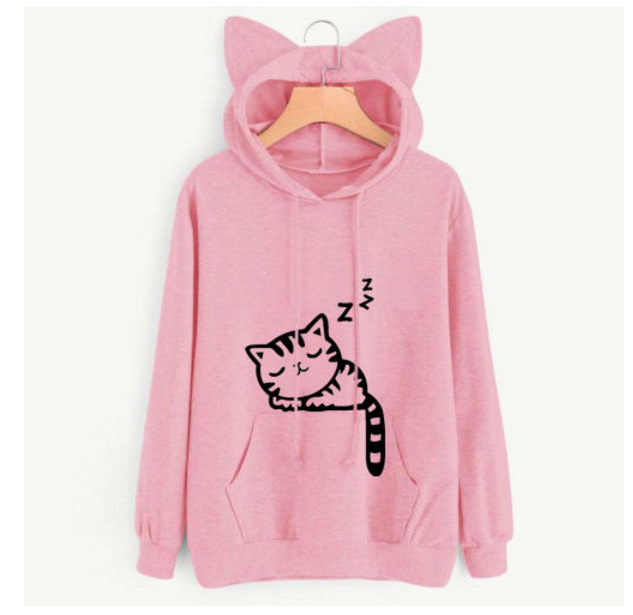 autumn and spring cartoon cat hooded woman sweatshirt fashion casual loose pullover long sleeve basic female sweatshirt new in Hoodies amp Sweatshirts from Women 39 s Clothing