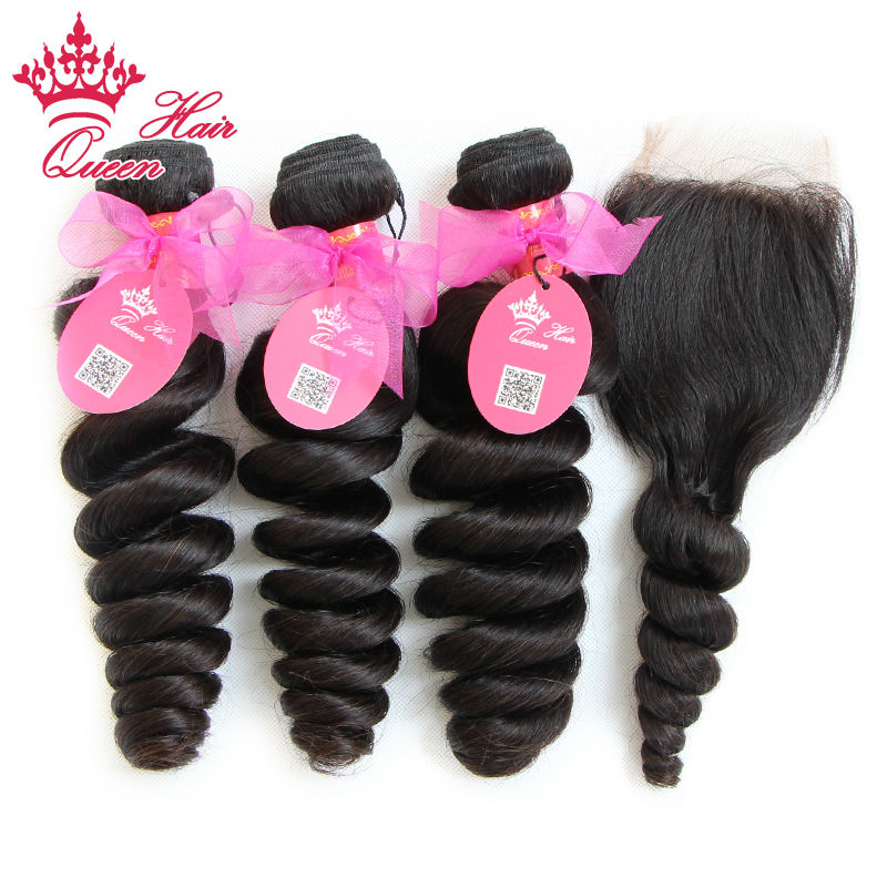 "Queen Hair 7A Grade 1 Piece Top Lace Closure with 3Pcs Hair Bundle, 4pcs/lot, Brazilian Virgin Hair Extension, Loose Wave 12""-28"""