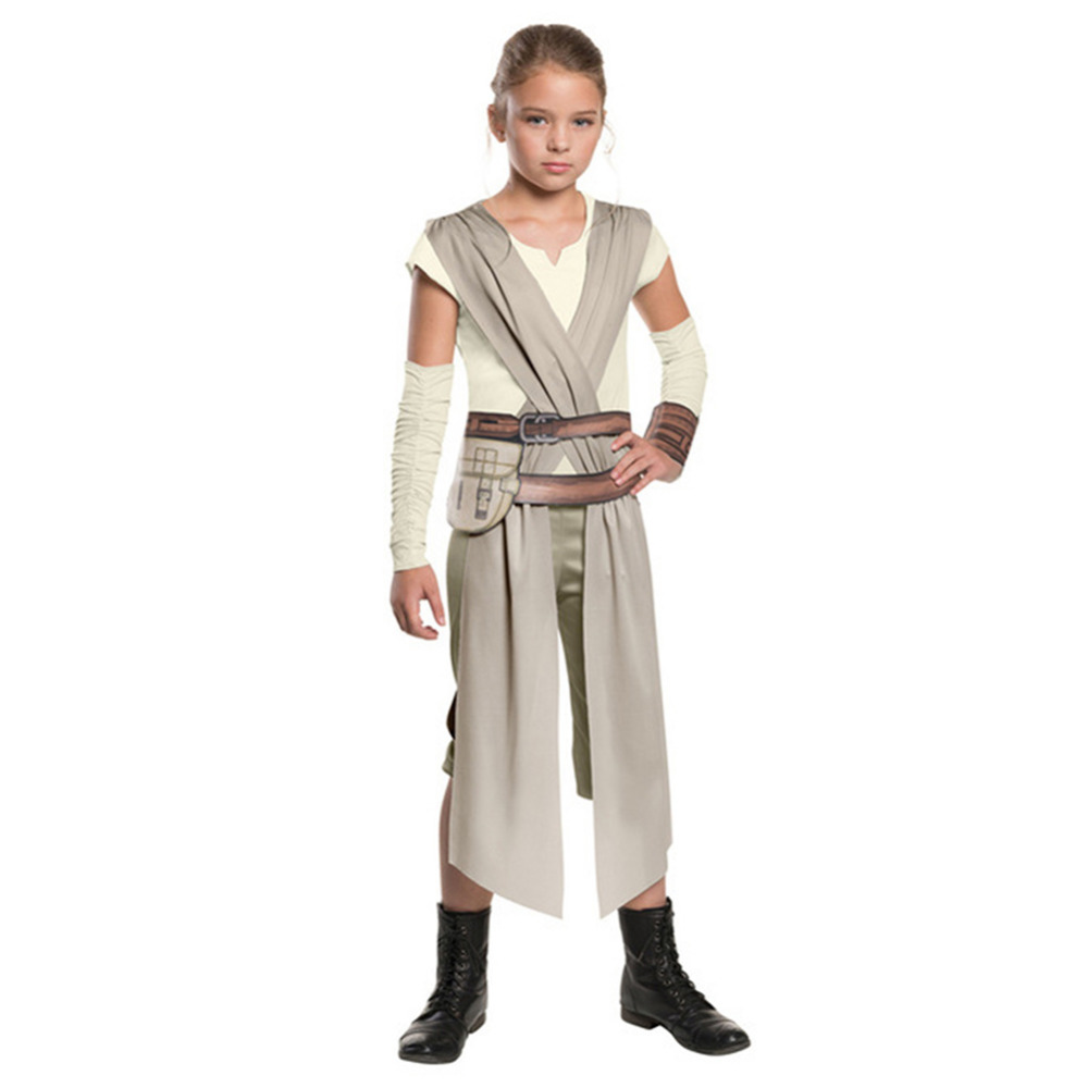 Star Wars Rey Jedi Cosplay Costume Outfit for Girls Kids Halloween Carnival Cosplay Costumes