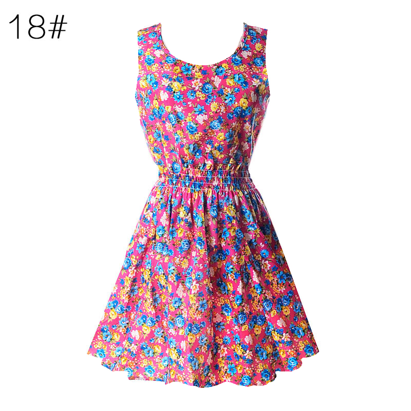 Sexy kobiety chiffon dress sundress plaża floral bez rękawów tank mini sukienki vestido 19