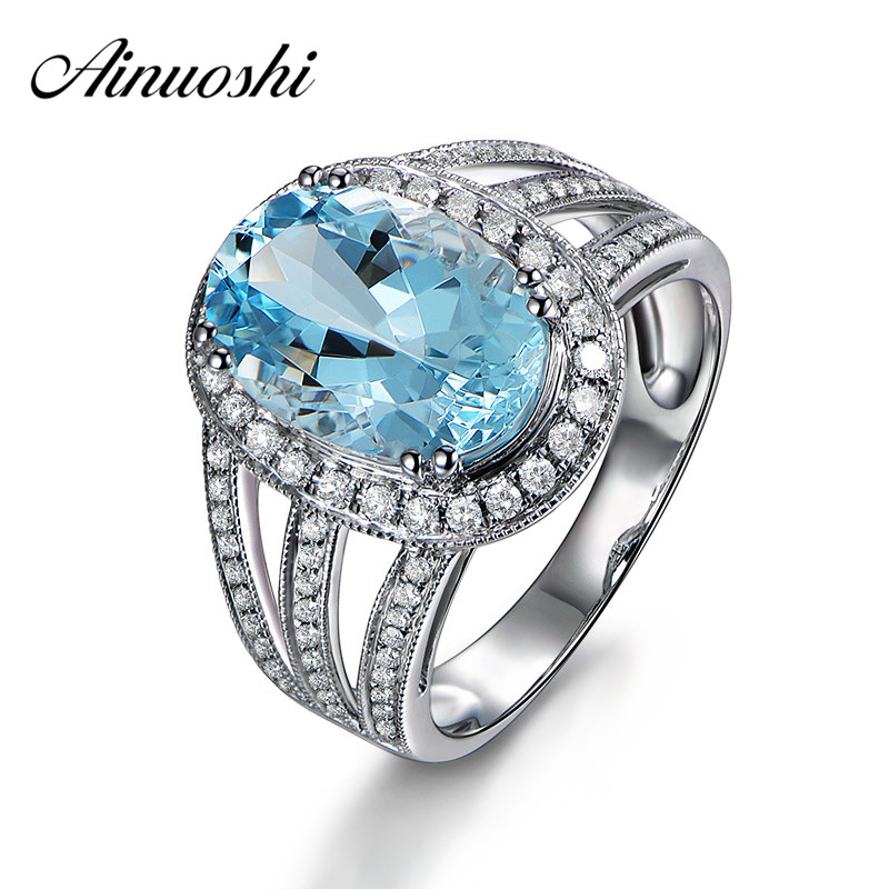 AINUOSHI Luxury 4ct Big Oval Ring Natural Sky Blue Gemston Topaz Ring Solid 925 Sterling Silver Halo Ring Women Wedding JewelryAINUOSHI Luxury 4ct Big Oval Ring Natural Sky Blue Gemston Topaz Ring Solid 925 Sterling Silver Halo Ring Women Wedding Jewelry