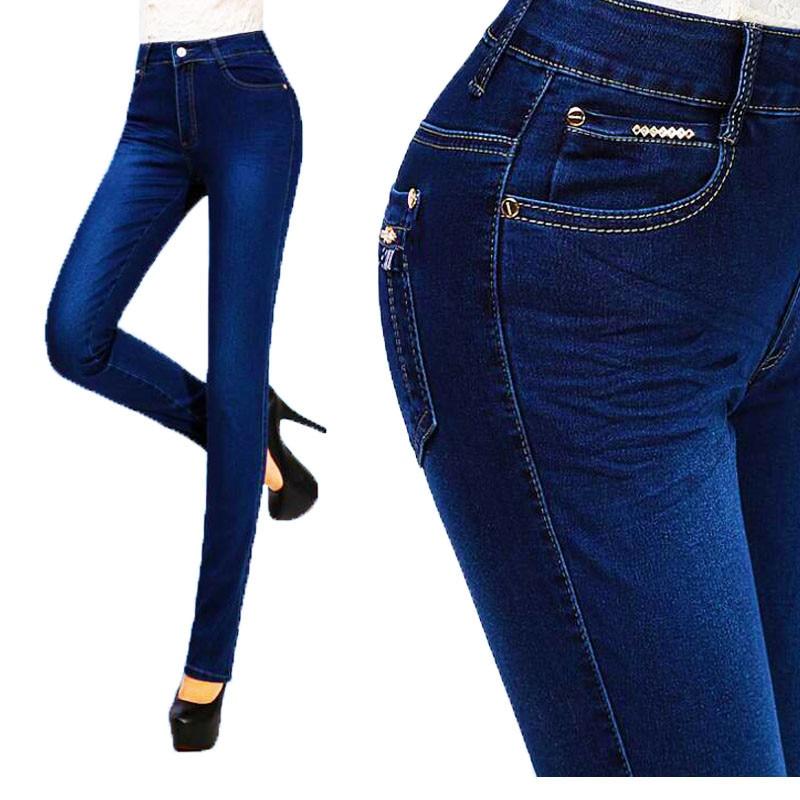 Plus Size Skinny Jeans Woman Winter Jeans High Waist Pants 2018 Blue Elastic Long Skinny Slim Trousers For Women