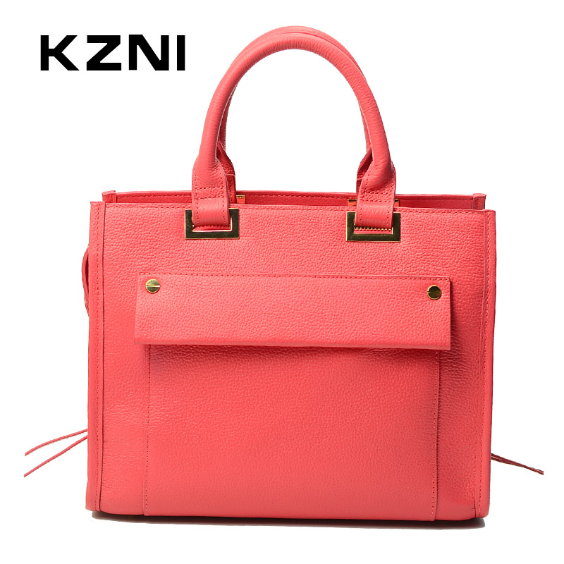KZNI Real Leather Luxury Handbags Women Bags Designer Top-handle Bags Female Purses and Handbags Sac a Main Bolsa Feminina 1419 kzni genuine leather bag female women messenger bags women handbags tassel crossbody day clutches bolsa feminina sac femme 1416