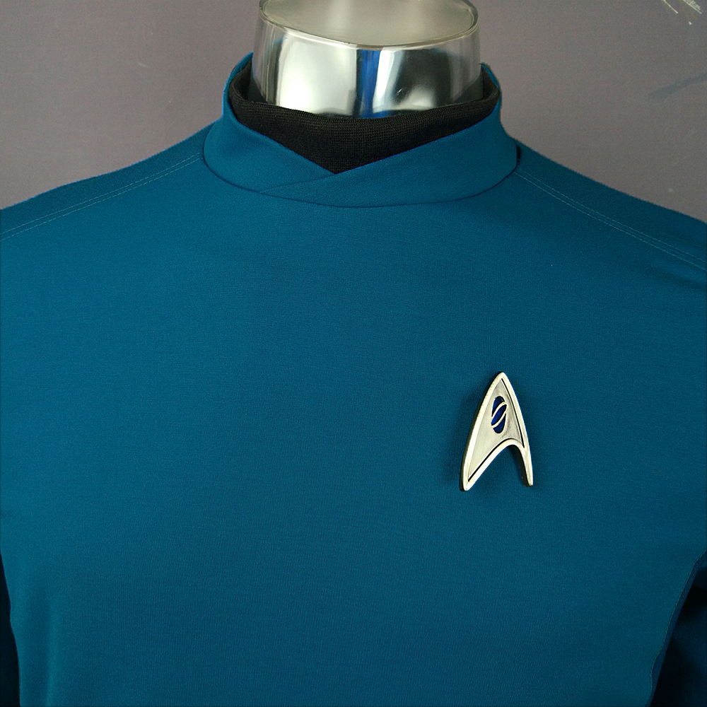 Cosplay Star Trek Custume Beyond Blue Captain Kirk Uniform Spock Blue Uniform Badge Scotty Red Halloween Party Prop (8)