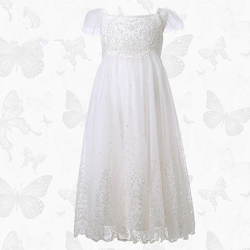 Children's clothing Girls Princess dress Mesh Pleated wedding dress Tutu Flower girl dress White sequins Children's dress sun flower print pleated dress