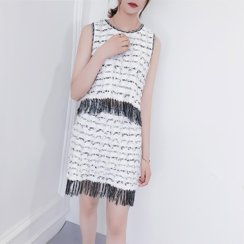 456a17cf279f8 Aliexpress.com   Buy WARMSWAY elegant ladies tassel knit set Round neck  knit tank + skirt women fashion suit casual black white stripes set C 176  from ...