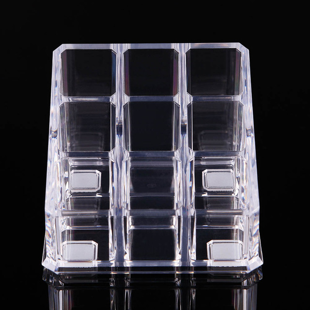 Acrylic Makeup Organizer Display Holder 9 Slot Clear Rack for Lipsticks Brushes Nail Polish MU